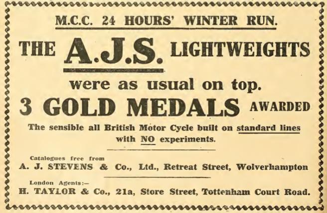 1911 AJS ADVERT A:W