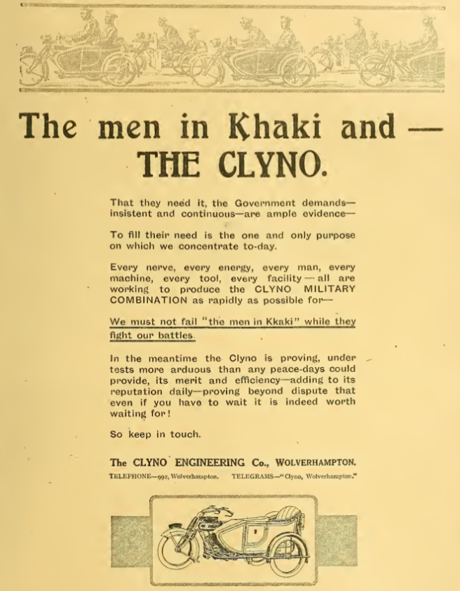 1915 CLYNO AD