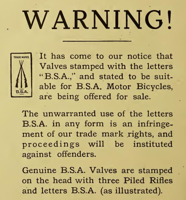 1916 BSA WARNING AD