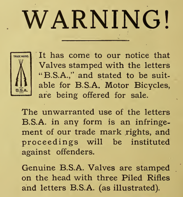 1916 BSA WARNING AD