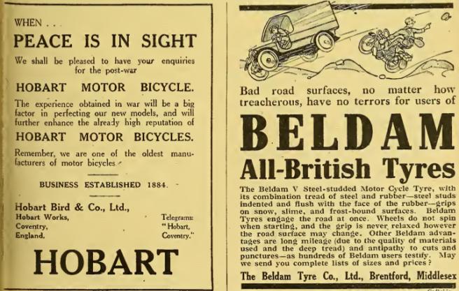 1918 HOBART BELDAM ADS
