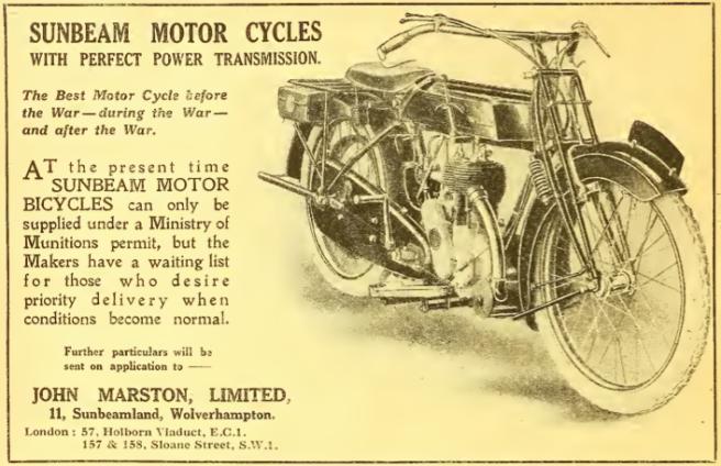 1918 SUNBEAM AD