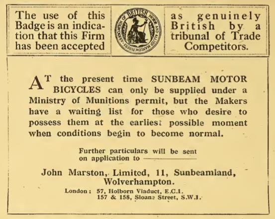 1918 SUNBEAM AD2
