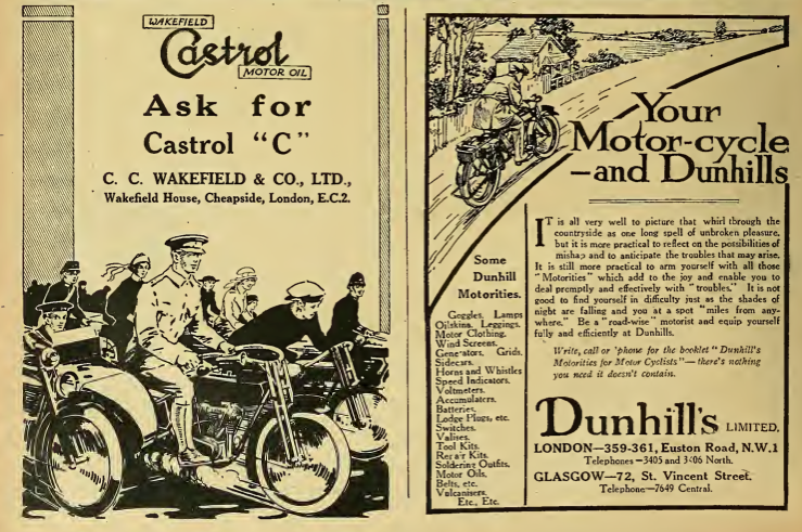 1919 CASTROL DUNHILL ADS