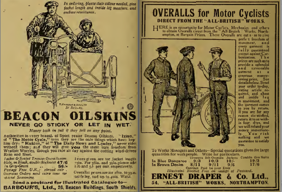1919 OILIES OVERALL ADS
