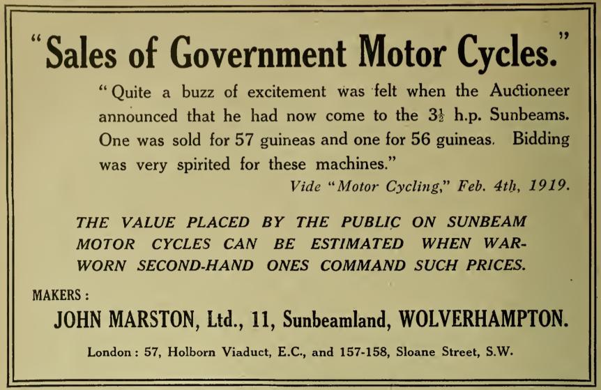 1919 SUNBEAM AD