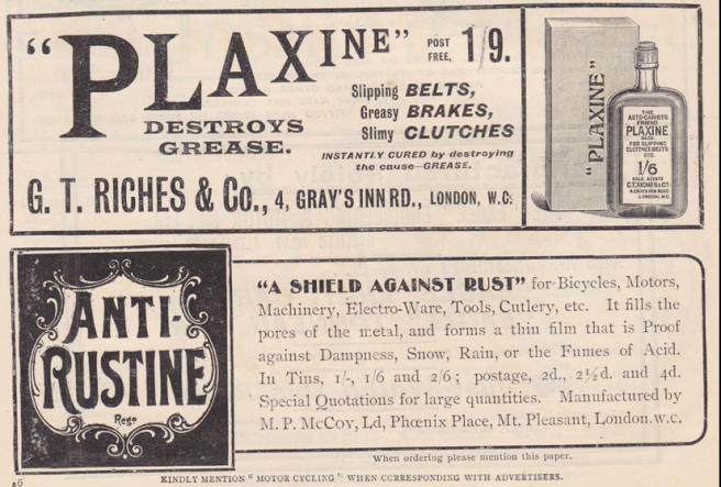 1902 PLAXIN RUSTINE ADS