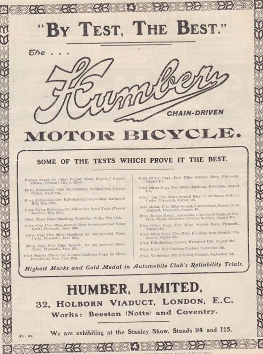 1904 HUMBER AD