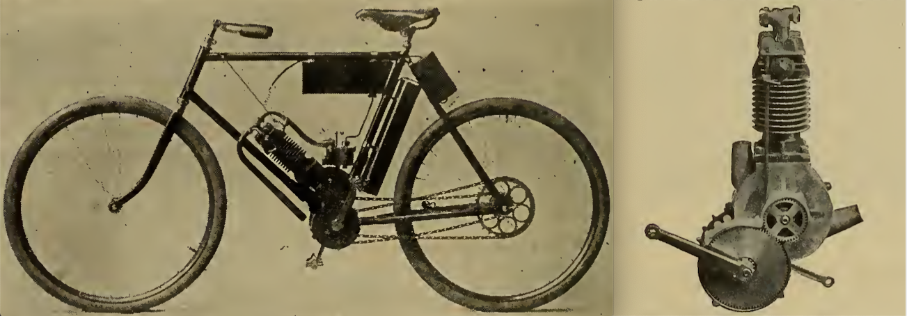 """IN LAUNCHING THE MOTOR BICYCLE here shown the Hampden Mfg Co take occasion to remark that 'it is designed and built with a full understanding of the extraordinary strains to which such a machine is subjected.' The motor is built into and forms part of the frame, thus insuring a permanent alignment of the driving sprockets—the Hampden people say the vibration of a high-speed motor makes a rigid attachment a necessity. The carburetter is of a new design, float feed, and is provided with a throttle for varying the engine speed. The machine is controlled entirely from the handle bars. The machine has a maximum speed of 25mph, and its makers claim it carries gasolene sufficient for a run of 75 miles; larger tanks can be substituted so as to allow a range up to 200 miles. The weight of the machine complete is 80lb."""""""