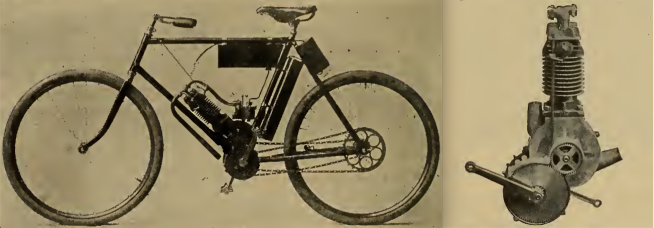 IN LAUNCHING THE MOTOR BICYCLE here shown the Hampden Mfg Co take occasion to remark that 'it is designed and built with a full understanding of the extraordinary strains to which such a machine is subjected.' The motor is built into and forms part of the frame, thus insuring a permanent alignment of the driving sprockets—the Hampden people say the vibration of a high-speed motor makes a rigid attachment a necessity. The carburetter is of a new design, float feed, and is provided with a throttle for varying the engine speed. The machine is controlled entirely from the handle bars. The machine has a maximum speed of 25mph, and its makers claim it carries gasolene sufficient for a run of 75 miles; larger tanks can be substituted so as to allow a range up to 200 miles. The weight of the machine complete is 80lb.""