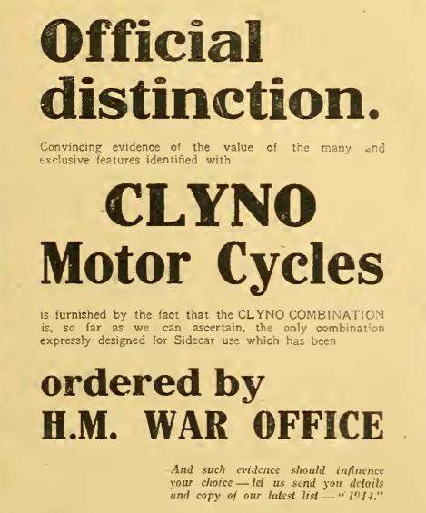 1914 CLYNO AD