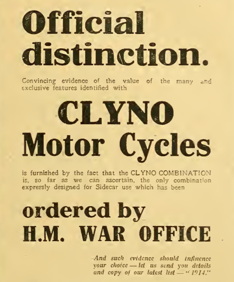 1914 CLYNO AD