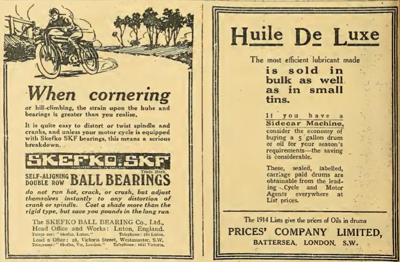 1914 SKEFKO HUILLE ADS