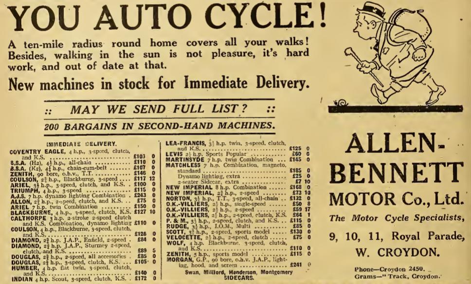 1921 BENNETTS AD