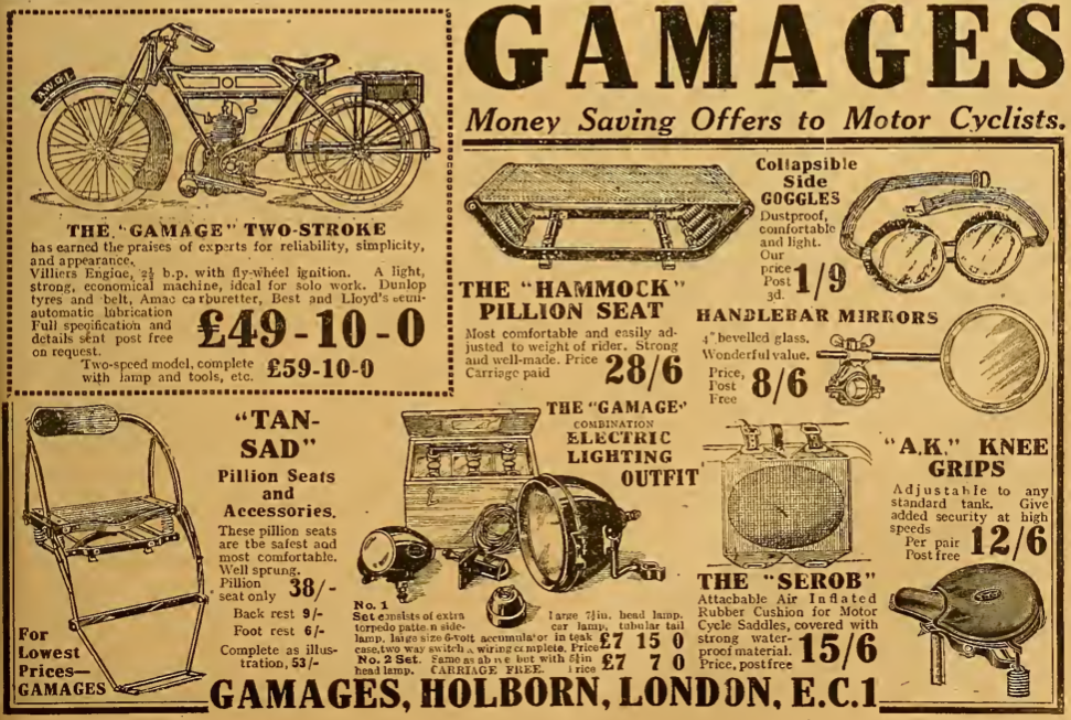 1921 GAMAGES 2 AD