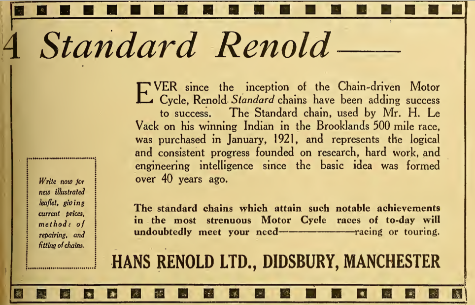 1921 RENOLD AD