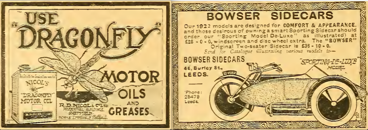1922 DRAGONFLY BOWSER ADS