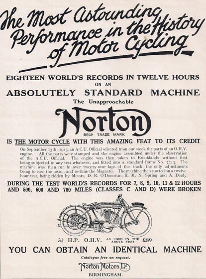1923 NORTON RECORD AD
