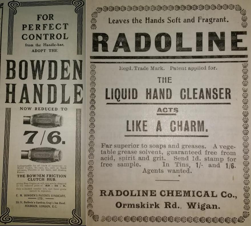 1905 BOWDEN-RADOLINE ADS