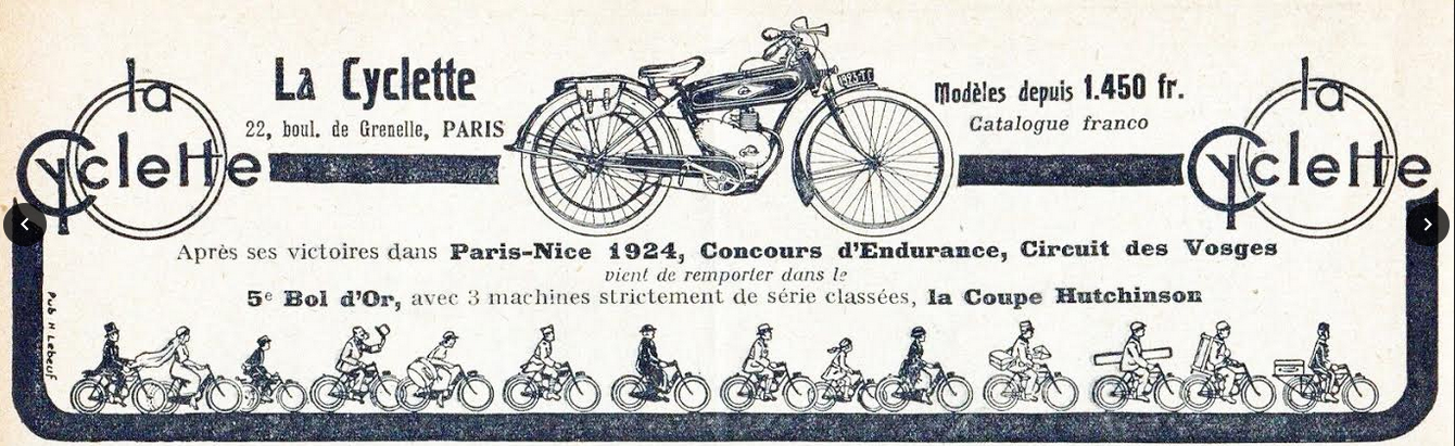 1924 LA CYCLETTE AD